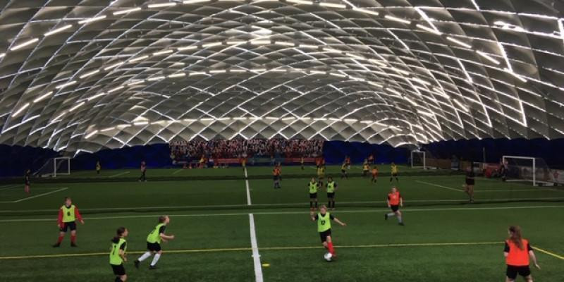 The Girls Elite Football Camp are in the Swindome